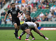 """Twickenham, Surrey United Kingdom. With the ball, Fa'asiu FUATAL, in action during the Pool C Game. New Zealand vs Fiji at the """"2017 HSBC London Rugby Sevens"""",  Saturday 20/05/2017 RFU. Twickenham Stadium, England    <br /> <br /> [Mandatory Credit Peter SPURRIER/Intersport Images]"""