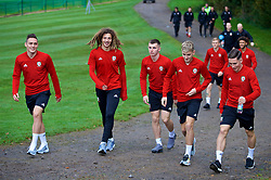 CARDIFF, WALES - Thursday, October 11, 2018: Wales players during a pre-match walk at the Vale Resort ahead of the International Friendly match between Wales and Spain. (L-R) Connor Roberts, Ethan Ampadu, Ben Woodburn, David Brooks, Harry Wilson. (Pic by David Rawcliffe/Propaganda)