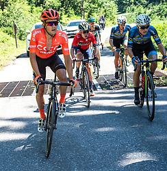 30.06.2019, Mondsee, AUT, Staatsmeisterschaft, Mondsee 5 Seen Radmarathon, im Bild v.l. Riccardo Zoidl (AUT, CCC Team), Hermann Pernsteiner (AUT, Bahrain Merida Pro Cycling Team), Gregor Mühlberger (AUT, Bora - Hansgrohe), Stephan Rabitsch (AUT, Team Felbermayr Simplon Wels), Benjamin Brkic (AUT, Team Felbermayr Simplon Wels) // during the Austrian State Championship 5 lakes cycling marathon. Mondsee, Austria on 2019/06/30. EXPA Pictures © 2019, PhotoCredit: EXPA/ Reinhard Eisenbauer