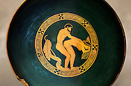 Greek Attica pottery plate with erotic depiction of a man and women, 5th century BC, Secret Museum or Secret Cabinet, Naples National Archaeological Museum , art background .<br /> <br /> If you prefer to buy from our ALAMY PHOTO LIBRARY  Collection visit : https://www.alamy.com/portfolio/paul-williams-funkystock - Scroll down and type - Roman Art Erotic  - into LOWER search box. {TIP - Refine search by adding a background colour as well}.<br /> <br /> Visit our ROMAN ART & HISTORIC SITES PHOTO COLLECTIONS for more photos to download or buy as wall art prints https://funkystock.photoshelter.com/gallery-collection/The-Romans-Art-Artefacts-Antiquities-Historic-Sites-Pictures-Images/C0000r2uLJJo9_s0