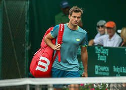 April 13, 2018 - Houston, TX, U.S. - HOUSTON, TX - APRIL 13:  Guido Pella of Argentina enters the court in the match against Tennys Sandgren of the United States during the Quarterfinal round of the Men's Clay Court Championship on April 13, 2018 at River Oaks Country Club in Houston, Texas.  (Photo by Leslie Plaza Johnson/Icon Sportswire) (Credit Image: © Leslie Plaza Johnson/Icon SMI via ZUMA Press)