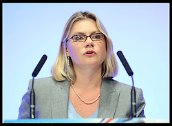 International Development Secretary Justine Greening  speaking at the Conservative Party Conference  in Birmingham, Tuesday 9th October 2012. Photo by: Stephen Lock / i-Images