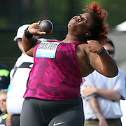 Michelle Carter, USA, in action in the Women's Shot Put during the Diamond League Adidas Grand Prix at Icahn Stadium, Randall's Island, Manhattan, New York, USA. 14th June 2014. Photo Tim Clayton