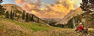Panoramic of sunset at campsite in the Bob Marshall Wilderness, Montana, USA