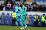 Cardiff city goalkeeper Neil Etheridge (l) and Derby county goalkeeper Scott Carson ® chat after the final whistle. EFL Skybet championship match, Cardiff city v Derby County at the Cardiff city stadium in Cardiff, South Wales on Saturday 30th September 2017.<br /> pic by Andrew Orchard, Andrew Orchard sports photography.