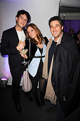 Left to right, DOUG KER, his wife MELISSA DEL BONO and her brother LUCA DEL BONO at a party to celebrate the Mulberry Autumn Winter 2010 collection held at The Orangery, Kensington Palace, London on 21st February 2010.