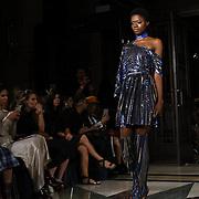 Designer Jiki Kalfar showcases is latest collection at Fashion Scout - SS19 at Freemasons Hall, London, UK. 15 September 2018.