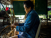 20 JANUARY 2018 - CAMALIG, ALBAY, PHILIPPINES: SALVATION MOYA rips reeds she will weave into placemats and table runners to sell to tourists at the Barangay Cabangan evacuee shelter in a school in Camalig. She makes the placemats and table runners at her home and brought her supplies with her to the shelter. There are about 650 people living at the shelter. They won't be allowed to move back to their homes until officials determine that Mayon volcano is safe and not likely to erupt. More than 30,000 people have been evacuated from communities on the near the Mayon volcano in Albay province in the Philippines. Most of the evacuees are staying at school in communities outside of the evacuation zone.  PHOTO BY JACK KURTZ