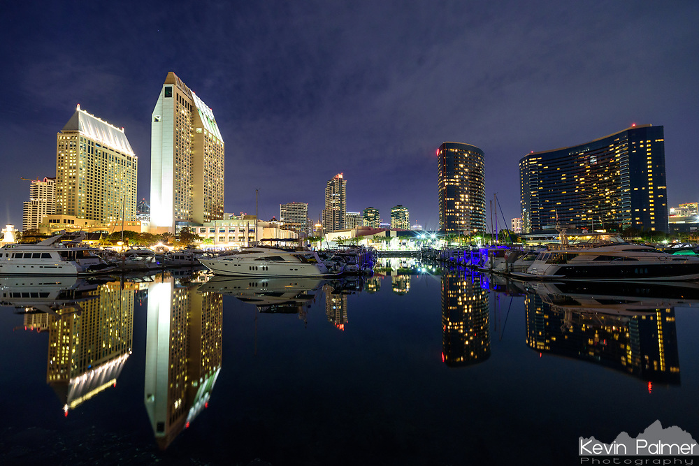 San Diego skyscrapers are reflected in a harbor on San Diego Bay.