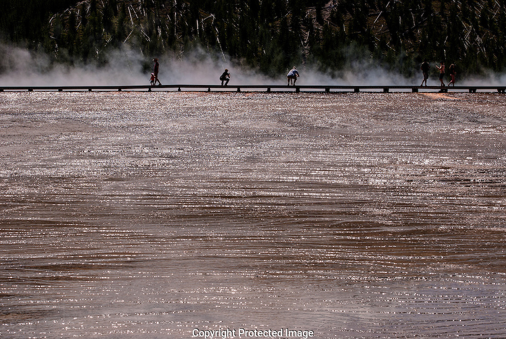 Boardwalk at Grand Prismatic Spring, Yellowstone National Park, USA.