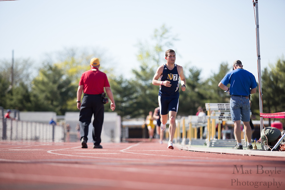 The College of New Jersey's Alex Arnold competes in the men's 10000 meter at the NJAC Track and Field Championships at Richard Wacker Stadium on the campus of  Rowan University  in Glassboro, NJ on Saturday May 4, 2013. (photo / Mat Boyle)
