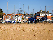 View over marshland reeds of boatyard and town buildings, Woodbridge, Suffolk, England