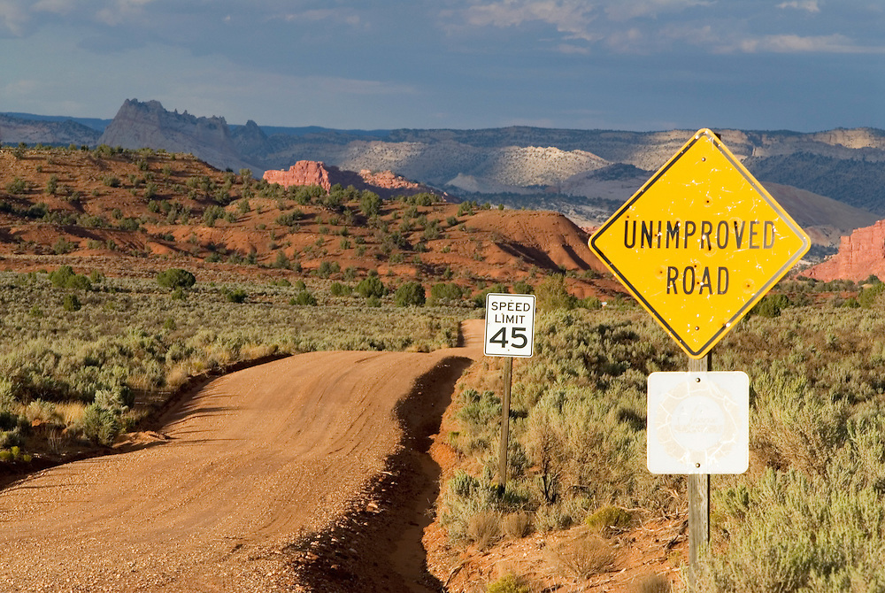 Unimproved Road sign along the Paria River Valley road in southern Utah.