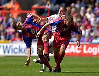 Photo: Daniel Hambury.<br />Crystal Palace v Leeds United. Coca Cola Championship. 13/08/2006.<br />Palace's Mark Hudson and Danny Granville combine to stop Leeds' David Healey.