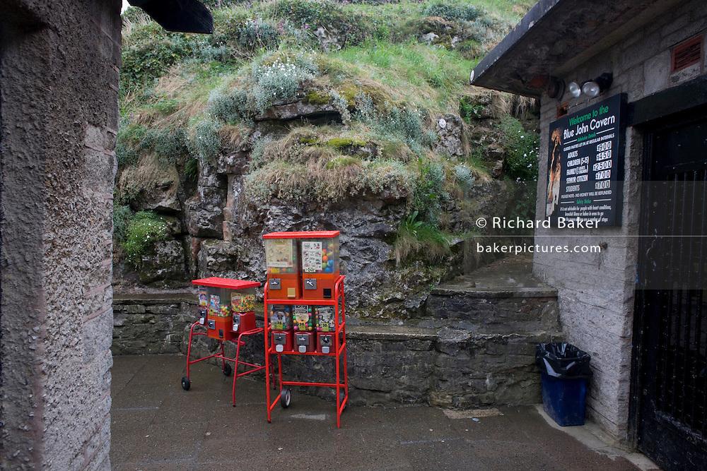 Sweets dispenser at Blue John Cavern in the Derbyshire Peak District National Park.