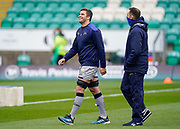 Sale Sharks flanker Jono Ross shares a joke with Director of Rugby Alex Sanderson before a Gallagher Premiership Round 13 Rugby Union match, Saturday, Mar. 13, 2021, in Northampton, United Kingdom. (Steve Flynn/Image of Sport)