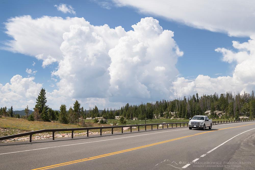 Pickup truck on Beartooth Highway Wyoming