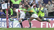 24/05/2002<br /> Sport - Rugby Union<br /> IRB World Sevens Series - Twickenham<br /> ENG v S.Africa<br /> <br /> Josh Lewsey touch's down for Englands first try.<br />    [Mandatory Credit, Peter Spurier/ Intersport Images]<br />    [Mandatory Credit, Peter Spurier/ Intersport Images]