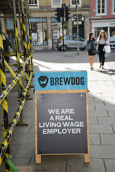 Brewdog promoting that they are a living wage employer, Norwich UK Aug 2019