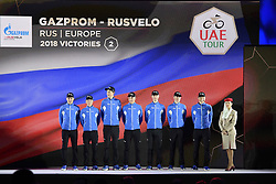 February 23, 2019 - Abu Dhabi - Foto LaPresse - Fabio Ferrari.23 Febbraio 2019 Abu Dhabi (Emirati Arabi Uniti).Sport Ciclismo.UAE Tour 2019 - Presentazione squadre.Nella foto: Gazprom Ruscello..Photo LaPresse - Fabio Ferrari.February 23, 2019 Abu Dhabi (United Arab Emirates) .Sport Cycling.UAE Tour 2019 - Team presentation.In the pic: Gazprom Rusvelo (Credit Image: © Fabio Ferrari/Lapresse via ZUMA Press)