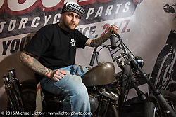 Cool Ironhead Sportster in a cool vendor booth in the custom dedicated Hall 10 at the Intermot Motorcycle Trade Fair. Cologne, Germany. Sunday October 9, 2016. Photography ©2016 Michael Lichter.