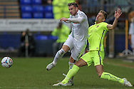 Liam Ridehalgh (Tranmere Rovers) gets to the ball ahead of Mike Phenix (Southport) during the Vanarama National League match between Tranmere Rovers and Southport at Prenton Park, Birkenhead, England on 6 February 2016. Photo by Mark P Doherty.