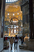 Tourists at Hagia Sophia, Ayasofya Muzesi, mosque museum in Sultanahmet, Istanbul, Republic of Turkey