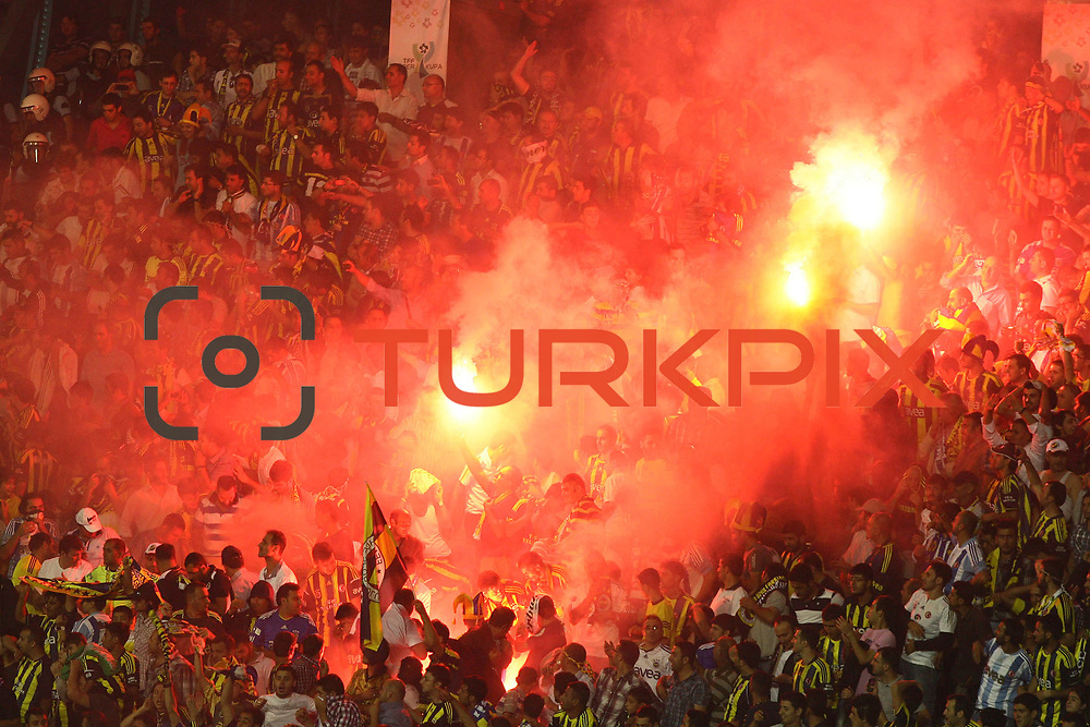 Fenerbahce's supporters are protesting their team during their Turkish Super Cup 2012 soccer derby match Galatasaray between Fenerbahce at the Kazim Karabekir stadium in Erzurum Turkey on Sunday, 12 August 2012. Photo by TURKPIX