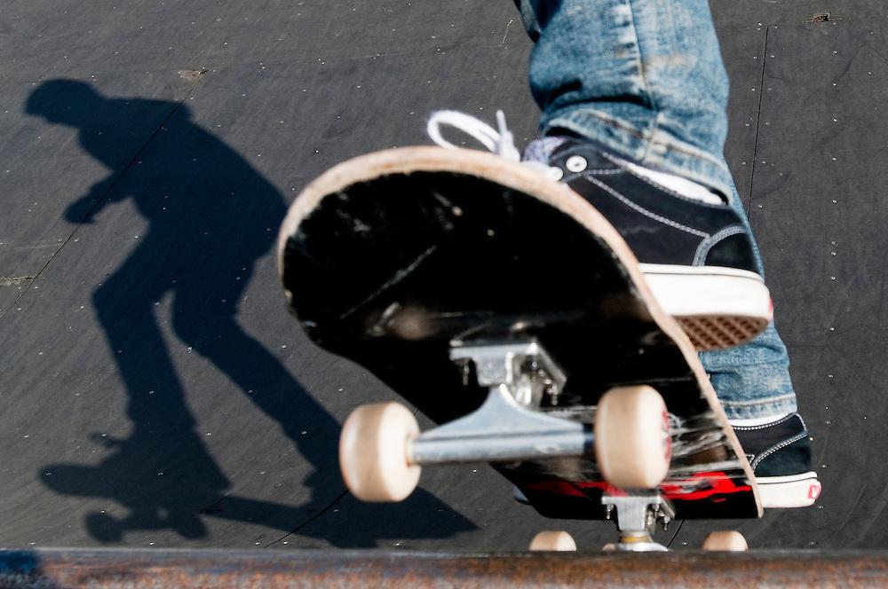 Matt Dixon   The Flint Journal..Bo Cook, 20, casts a shadow while skateboarding in Flint, Wednesday, March 2.