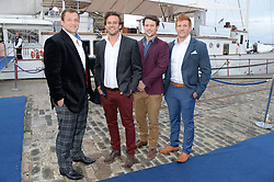 Johnnie Walker Gold Label Reserve Finale Celebration Party aboard the John Walker & Sons Voyager moored at the Prince of Wales Docks, Leith, Edinburgh, Scotland on 14th August 2013.<br /> Picture shows:-Left to right, Ryan Grant, Rory Jackson,  Pete Horne and Roddy Grant.