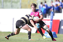 Theuns Kotze of Boland tackles Nardus van der Walt of the Pumas during the Currie Cup premier division match between the Boland Cavaliers and The Pumas held at Boland Stadium, Wellington, South Africa on the 2nd September 2016<br /> <br /> Photo by:   Shaun Roy/ Real Time Images