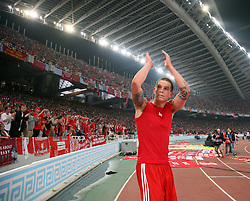 Athens, Greece - Wednesday, May 23, 2007: Liverpool's Daniel Agger claps to the crowed after losing 2-1 to AC Milan during the UEFA Champions League Final at the OACA Spyro Louis Olympic Stadium. (Pic by David Rawcliffe/Propaganda)