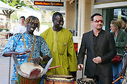 Catch A Fire Premiere with surprise guest Bono, Sydney, Australia - 14 Nov 2006 ..Bono joins in playing the drums with african band..