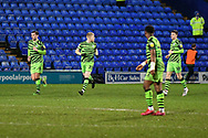 GOAL 2-1! Forest Green's midfielder Elliott Whitehouse and team mates race back to their positions during the EFL Sky Bet League 2 match between Tranmere Rovers and Forest Green Rovers at Prenton Park, Birkenhead, England on 19 January 2021.
