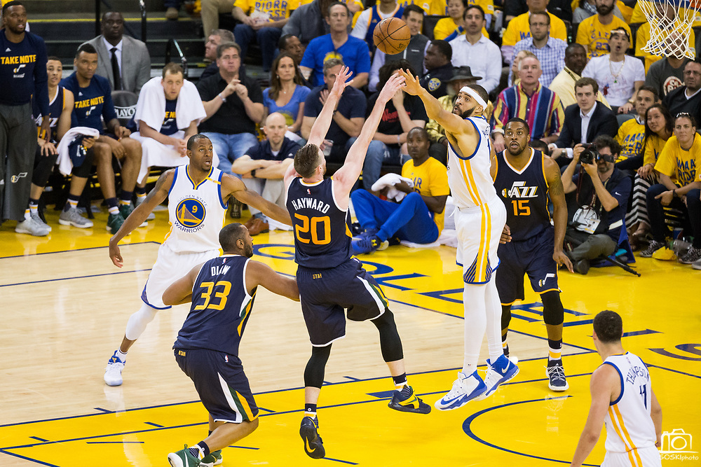 Golden State Warriors center JaVale McGee (1) attempts to block a shot by Utah Jazz forward Gordon Hayward (20) during Game 2 of the Western Conference Semifinals at Oracle Arena in Oakland, Calif., on May 4, 2017. (Stan Olszewski/Special to S.F. Examiner)