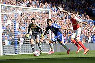 Eden Hazard of Chelsea and Héctor Bellerín of Arsenal in action. Barclays Premier League match, Chelsea v Arsenal at Stamford Bridge in London on Saturday 19th September 2015.<br /> pic by John Patrick Fletcher, Andrew Orchard sports photography.