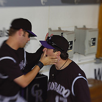 21 July 2007:  Colorado Rockies first baseman Todd Helton (17) receives some attention in the dugout prior to the game against the Washington Nationals.  The Nationals defeated the Rockies 3-0 at RFK Stadium in Washington, D.C.  ****For Editorial Use Only****