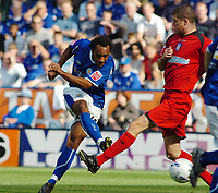 Photo: Kevin Poolman.<br /> Leicester City v Colchester United. Coca Cola Championship. 23/09/2006. Leicester player Chris O'Grady has a shot on goal.
