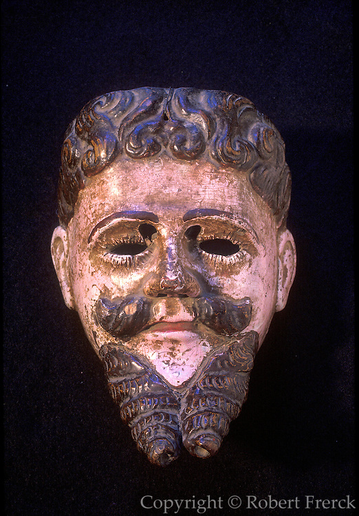 GUATEMALA, FOLKART Alvarado mask 18th-19thC used in 'Dance of the Conquest'(Alvarado was Spanish leader); painted wood