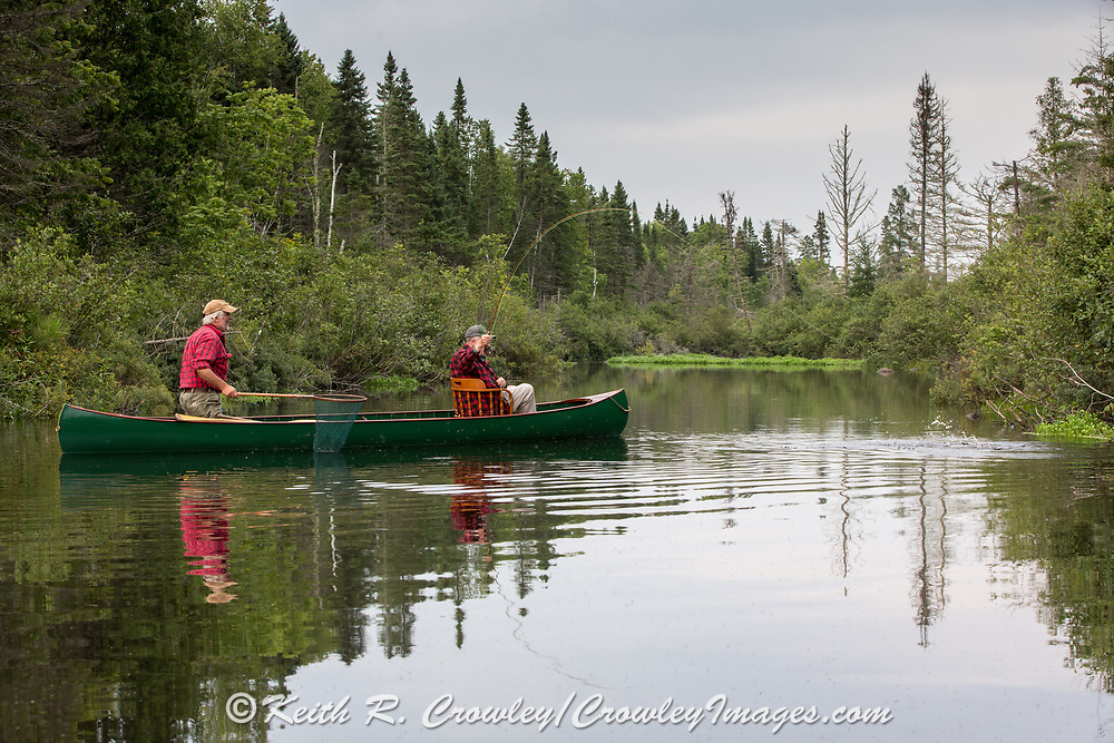 Brule River angler Matson Holbrook fights a nice Brown trout from the bow of a 1895 Lucius guide canoe restored by Brule Guide Damian Wilmot (with net.)