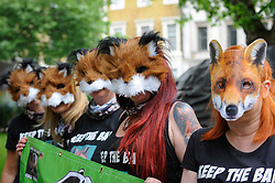 "© Licensed to London News Pictures. 29/05/2017. London UK. Demonstrators wearing fox masks join an ""Anti-Hunting March"" in central London, marching from Cavendish Square to outside Downing Street.  Protesters are demanding that the ban on fox hunting remains, contrary to reported comments by Theresa May, Prime Minister, that the 2004 Hunting Act could be repealed after the General Election.<br />  Photo credit : Stephen Chung/LNP"