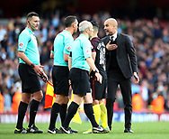 Manchester City's Pep Guardiola argues with referee Andre Marriner at the final whistle during the Premier League match at the Emirates Stadium, London. Picture date: April 2nd, 2017. Pic credit should read: David Klein/Sportimage