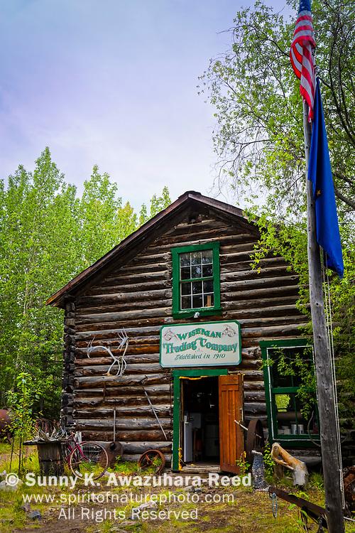 Wiseman Trading Company log cabin, Wiseman, Arctic Alaska, Autumn.
