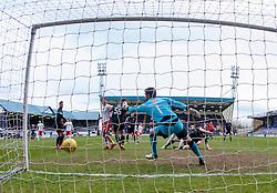 Falkirk's Bob McHugh (hidden) scoring their second goal. <br /> Raith Rovers 2 v 2 Falkirk, Scottish Championship game played 23/4/2016 at Stark's Park.