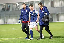 Scotland's Chris Hamilton injured in a tackle with Repulic of Ireland's keeper Kian Clarke. . Scotland 0 v 3 Repulic of Ireland, Under 16 Victory Shield played at Oriam, Edinburgh.