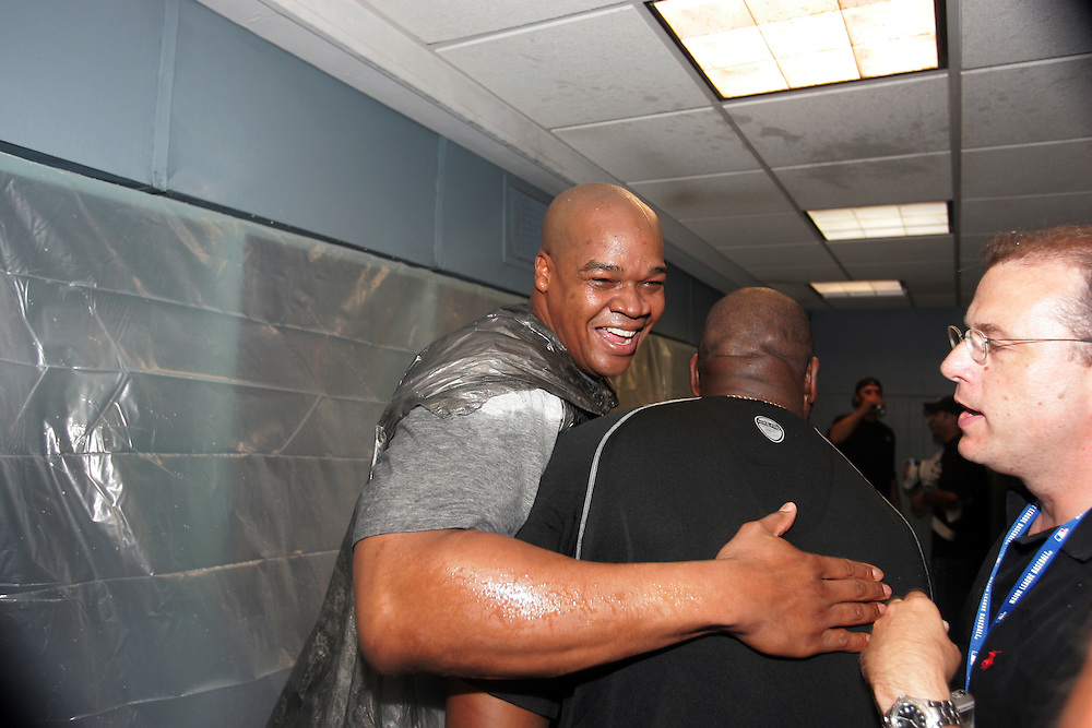 BOSTON - OCTOBER 7:  Frank Thomas of the Chicago White Sox celebrates after winning  Game 3 of the American League Divisional Series against the Boston Red Sox at Fenway Park on October 7, 2005 in Boston, Massachusetts.   The White Sox defeated the Red Sox 5-3 to sweep the Red Sox and advance to the American League Championship Series.  (Photo by Ron Vesely)