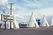 Concrete teepees at Sleep in a Wigwam motel in Holbrook, Arizona, just of Route 66.