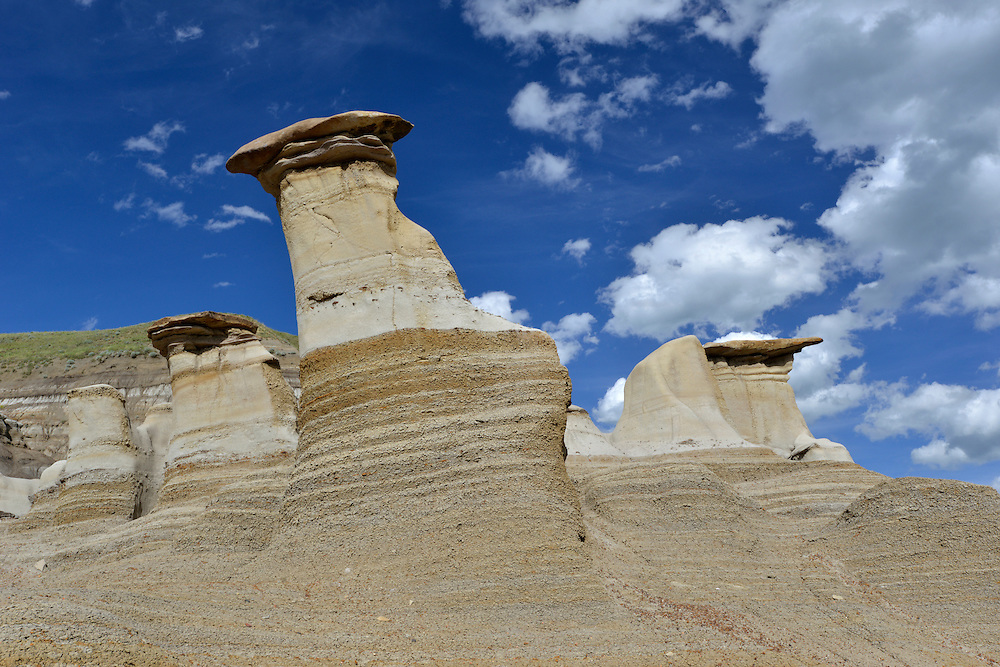 Geological formations known as 'hoodoos'; the result of erosion. Drumheller, Alberta, Canada.