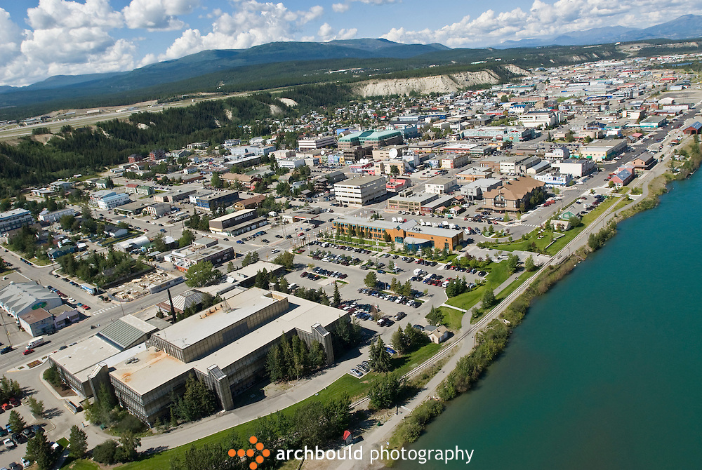 Summer view of downtown Whitehorse and the Yukon River.