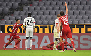 Foul v.l. Lucas Hernandez, Danny da Costa, Thiago Alcantara (Bayern), Sebastian Rode (Frankfurt), Thomas Müller during the Bayern Munich vs Eintracht Frankfurt, German Cup Semi-Final at Allianz Arena, Munich, Germany on 10 June 2020.